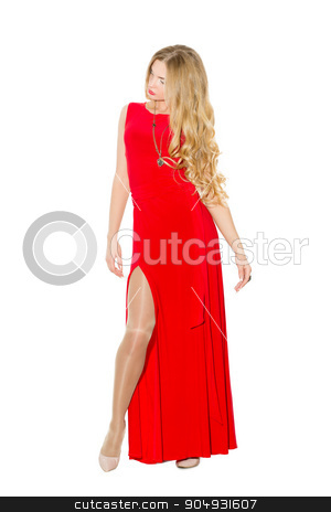 Sexy fashionable curly blonde with bright makeup. Sexual arousal girl in a short dress. Isolated on white background stock photo, Sexy fashionable curly blonde with bright makeup. Sexual arousal girl in a short dress by Kopytin Georgy