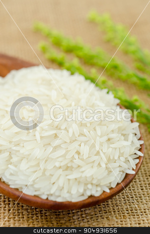 raw rice jasmine stock photo, Wooden spoon with raw rice jasmine on sack background. by Miss. PENCHAN  PUMILA