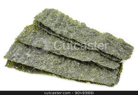fried korean style seaweed. stock photo, fried korean style seaweed on white background by Miss. PENCHAN  PUMILA