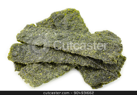 fried korean style seaweed. stock photo, fried korean style seaweed on white background by Miss. PENCHAN  PUMILA
