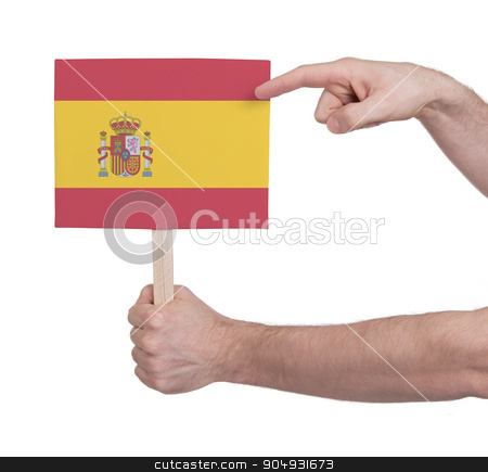 Hand holding small card - Flag of Spain stock photo, Hand holding small card, isolated on white - Flag of Spain by michaklootwijk