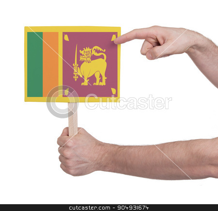 Hand holding small card - Flag of Sri Lanka stock photo, Hand holding small card, isolated on white - Flag of Sri Lanka by michaklootwijk