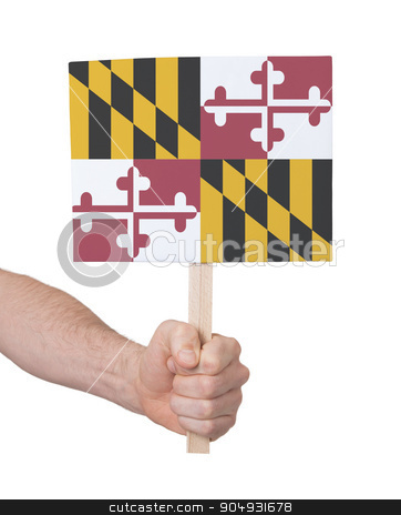Hand holding small card - Flag of Maryland stock photo, Hand holding small card, isolated on white - Flag of Maryland by michaklootwijk
