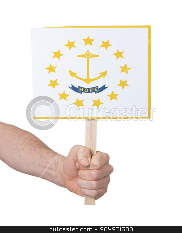 Hand holding small card - Flag of Rhode Island stock photo, Hand holding small card, isolated on white - Flag of Rhode Island by michaklootwijk
