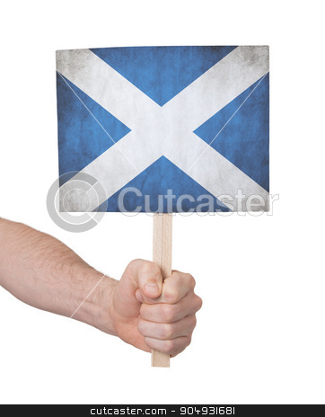 Hand holding small card - Flag of Scotland stock photo, Hand holding small card, isolated on white - Flag of Scotland by michaklootwijk