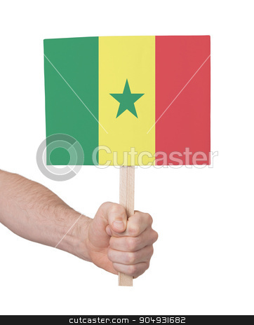 Hand holding small card - Flag of Senegal stock photo, Hand holding small card, isolated on white - Flag of Senegal by michaklootwijk