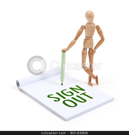 Wooden mannequin writing - Sign out stock photo, Wooden mannequin writing in a scrapbook - Sign out by michaklootwijk