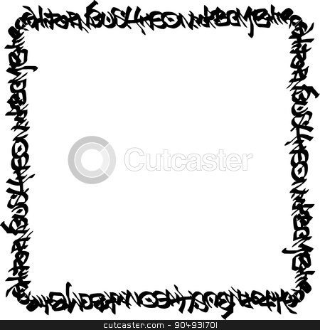 square frame black graffiti tag pattern on white stock vector clipart, square frame black graffiti tag pattern on white by johnjohnson