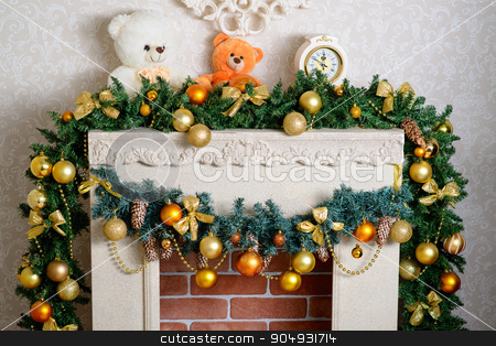 beautiful Christmas fireplace stock photo, Christmas decor in living room with fireplace by zakharovaleksey