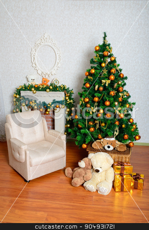 festive Christmas tree stock photo, Celebratory New Year tree decorated with beautiful fur-tree toys and Christmas gifts in gift packages both celebratory boxes by zakharovaleksey
