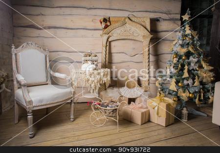 wooden Christmas interior stock photo, beautiful wooden Christmas interior with Christmas tree by zakharovaleksey