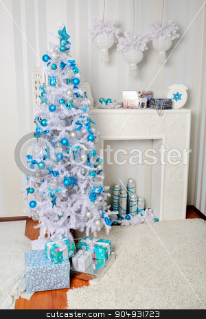 New Year's interior room stock photo, New Year's interior room in blue colors by zakharovaleksey