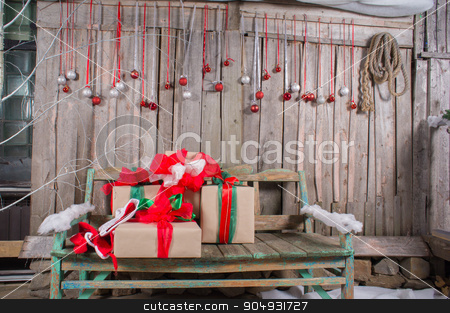 Christmas gift boxs stock photo, beautiful and delicate Christmas gift box with decoration by zakharovaleksey