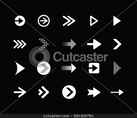 black arrow set stock vector clipart, black arrow set by jameschipper