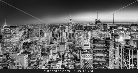 New York City Manhattan downtown skyline. stock photo, New York City. Manhattan downtown skyline with illuminated Empire State Building and skyscrapers at dusk. Black and white image. Panoramic composition. by kasto