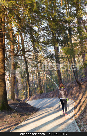 Woman hiking in nature.  stock photo, Young fit woman hiking in nature. Adventure, sport and exercise. Copy space. by kasto