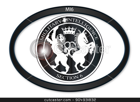 MI6 Oval Badge stock vector clipart, Oval metal button with a depiction of the MI6 horses by Kotto