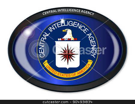 CIA Flag Oval stock vector clipart, Flag of The Central Intelligence Agency of the United States of America set into a black oval button by Kotto