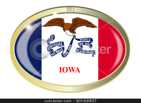 Iowa State Flag Oval Button stock vector clipart, Oval metal button with the Iowa flag isolated on a white background by Kotto