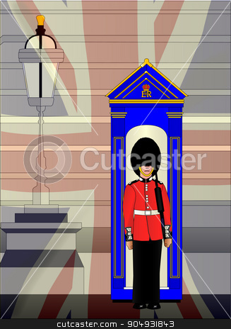 Soldier On Royal Guard Duty stock vector clipart, A soldier on duty outside the royal palace with a fade of the Union Jack flag by Kotto