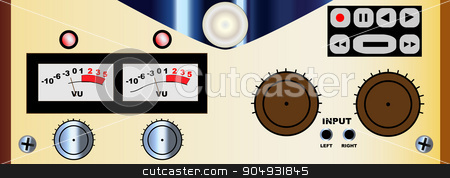 Reel To Reel Controls Panel stock vector clipart, A typical reel to reel master tape recorder control panel by Kotto