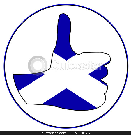 Thumbs Up Scotland stock vector clipart, A Scottish hand giving the thumbs up sign all over a white background by Kotto
