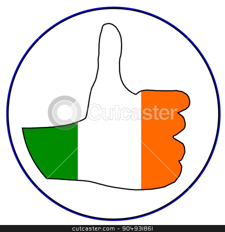 Thumbs Up Eire stock vector clipart, An Irish hand giving the thumbs up sign all over a white background by Kotto