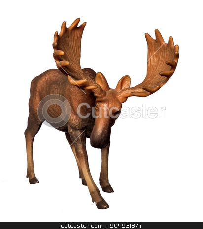 Figure of a moose stock photo, Beautiful collectible figure of an elk on white background by Liubov Nazarova