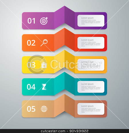 Vector illustration infographics 5 options stock vector clipart, Vector illustration infographics 5 options. Stock vector by Amelisk