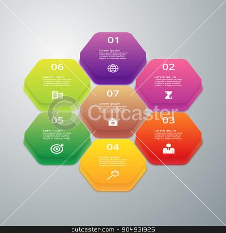 Vector illustration infographics of hexagons stock vector clipart, Vector illustration infographics of hexagons. Stock vector by Amelisk