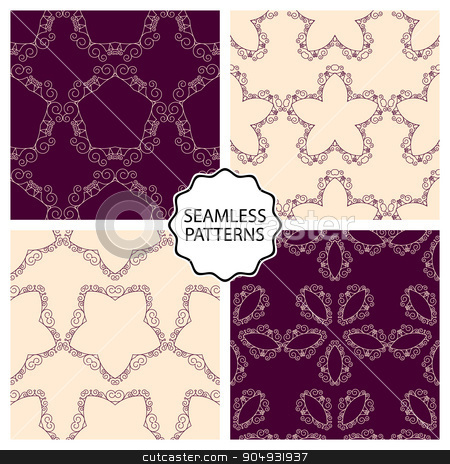 Vector illustration of a set seamless patterns stock vector clipart, Vector illustration of a set of linear seamless patterns. by Amelisk