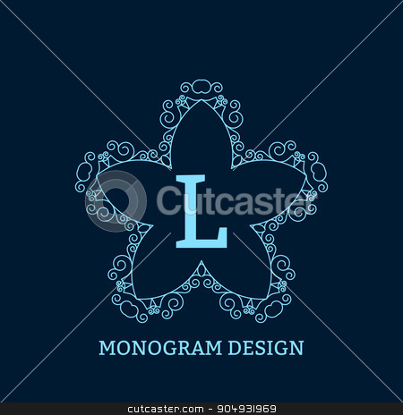 Vector illustration of the linear blue monogram stock vector clipart, Vector illustration of linear design. Stock vector by Amelisk