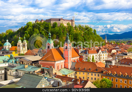 Panorama of Ljubljana, Slovenia, Europe. stock photo, Panorama of the Slovenian capital Ljubljana at sunset. by kasto