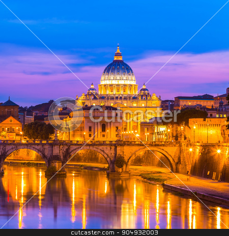 View at St. Peter's cathedral in Rome, Italy stock photo, Night view of old roman Bridge of Hadrian and St. Peter's cathedral in Vatican City Rome Italy. by kasto