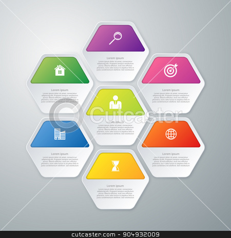 Vector illustration infographics of hexagons stock vector clipart, Vector illustration infographics of hexagons. Stock vector by Amelisk