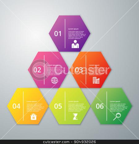 Vector illustration infographics six hexagon stock vector clipart, Vector illustration infographics six hexagon. Stock vector by Amelisk