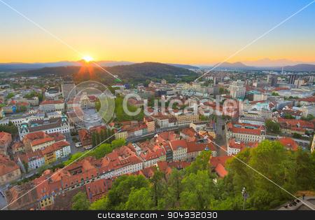 Panorama of Ljubljana, Slovenia, Europe. stock photo, Panorama of the Slovenian capital Ljubljana at sunset. by kasto