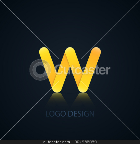 Vector illustration of abstract business logo stock vector clipart, Vector illustration of abstract business logo letter w. by Amelisk