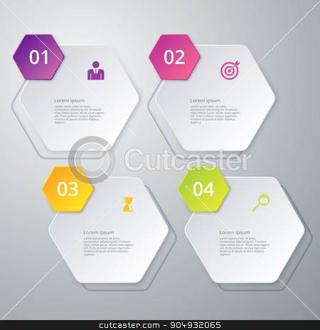 Vector illustration infographics four options stock vector clipart, Vector illustration infographics four hexagon. Stock vector by Amelisk