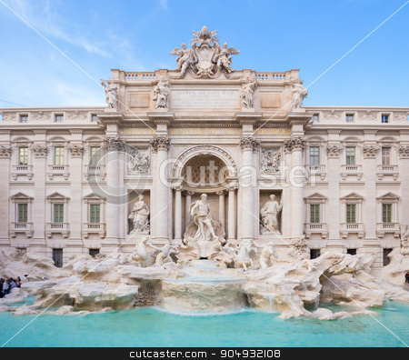 Trevi Fountain, Rome, Italy. stock photo, Trevi Fountain, largest Baroque fountain in the city and one of the most famous fountains in the world located in Rome, Italy. by kasto