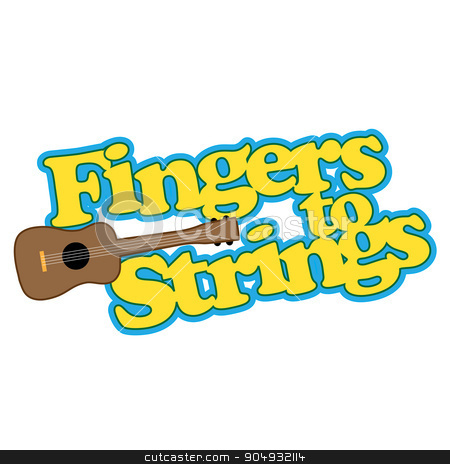 Fingers to Strings stock vector clipart, A graphic about playing a ukulele or any stringed instrument by Maria Bell