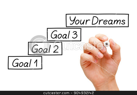 Goals Setting Concept stock photo, Move towards your dreams with incremental smaller goals. Hand drawing Goals Setting concept with marker on transparent wipe board. by Ivelin Radkov
