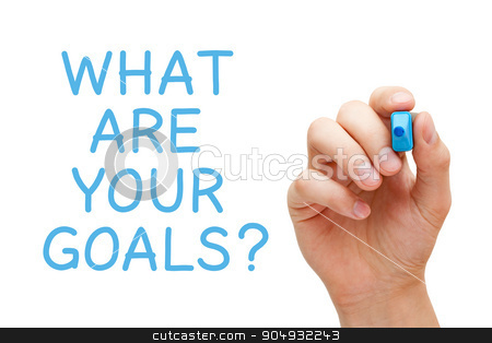 What Are Your Goals stock photo, Hand writing What Are Your Goals with blue marker on transparent wipe board. by Ivelin Radkov