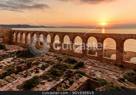 Ruins of Industrial Mining stock photo, Ruins of industrial mining along the west coast of Sardinia. Panorama at sunset. The Marmora washery. by osmar01