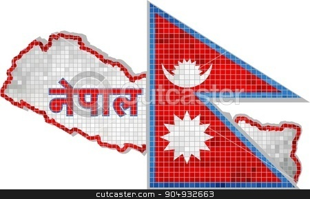 Nepal map with flag inside stock vector clipart, Nepal map with flag inside, Nepal map grunge mosaic, The National flag & map of Nepal,  Abstract grunge mosaic vector by Jugoslav