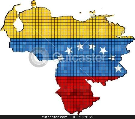 Venezuela map with flag inside stock vector clipart, Venezuela map with flag inside, Venezuela map grunge mosaic, Venezuela flag in mosaic,  Abstract grunge mosaic vector by Jugoslav