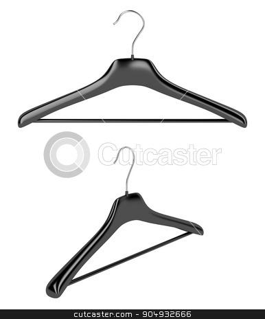 Coat hangers isolated on white stock photo, Front and side view of coat hangers, isolated on white background by Mile Atanasov
