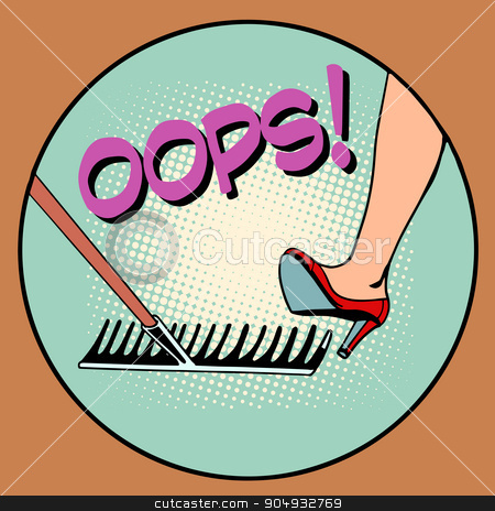 Woman step on the same rake stock vector clipart, Woman step on the same rake pop art retro style. Error repeat business concept by studiostoks