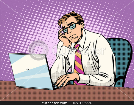 Businessman working on laptop boredom stock vector clipart, Businessman working on laptop boredom pop art retro style. Computers and office work. Man and modern technology by studiostoks