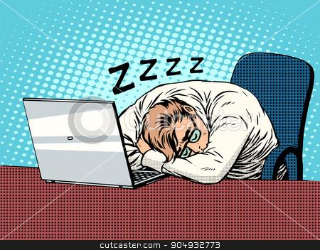 Businessman working on laptop fatigue sleep stock vector clipart, Businessman working on laptop pop art retro style. Fatigue sleep hard work. Computers and office work. Man and modern technology by studiostoks